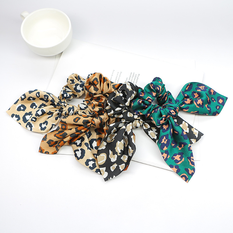 New 1PC Fashion Girls Summer Leopard Scrunchie Rubber Bow Hair Rope Ring Elastic Hair Bands Hair Accessoiries For Women