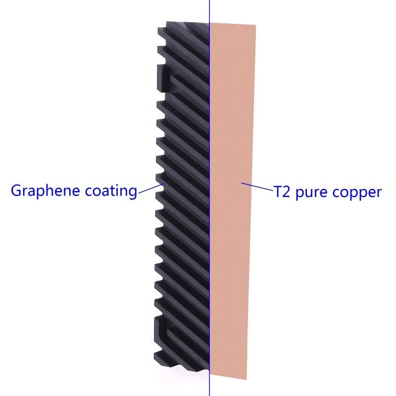 Графеновый радиатор M.2 NGFF 2280 PCI-E NVME SSD из чистой меди, термопрокладка, радиатор охлаждения 20x70x5/2.0/3.0/4.0 мм