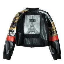 Genuine leather jackets female sheepskin patchwork printed baseball uniform round neck casual short leather jacket coat F1434