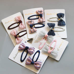 Hairpin Ribbon-Covered Hair-Accessories Grid Bb-Clip Handmade Boutique Mini Satin Girls Kids