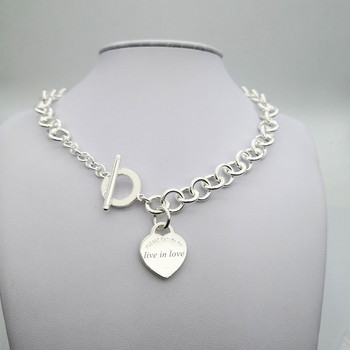 Sterling silver 925 classic popular original fashion heart-shaped charm ladies necklace jewelry holiday gift