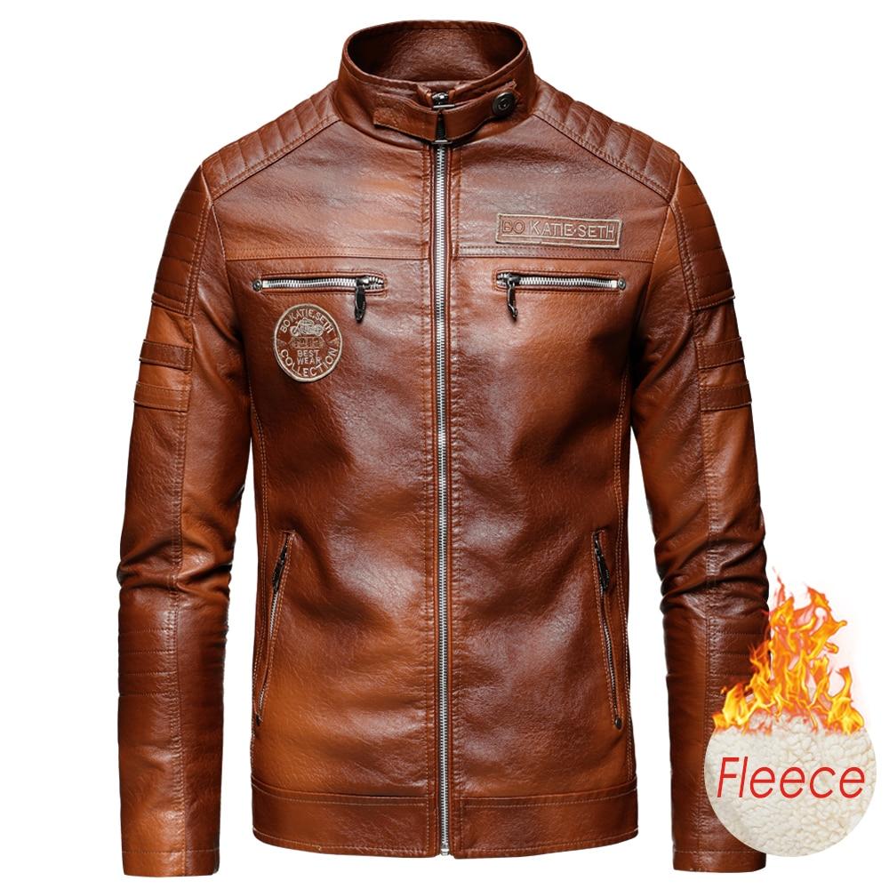 Ucrazy Men 2020 Autumn New Brand Casual Motor Distressed Leather Jacket Coat Men Winter Vintage Outwear Faux Leather Jackets Men 3