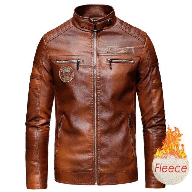 Ucrazy Men 2021 Autumn New Brand Casual Motor Distressed Leather Jacket Coat Men Winter Vintage Outwear Faux Leather Jackets Men 3