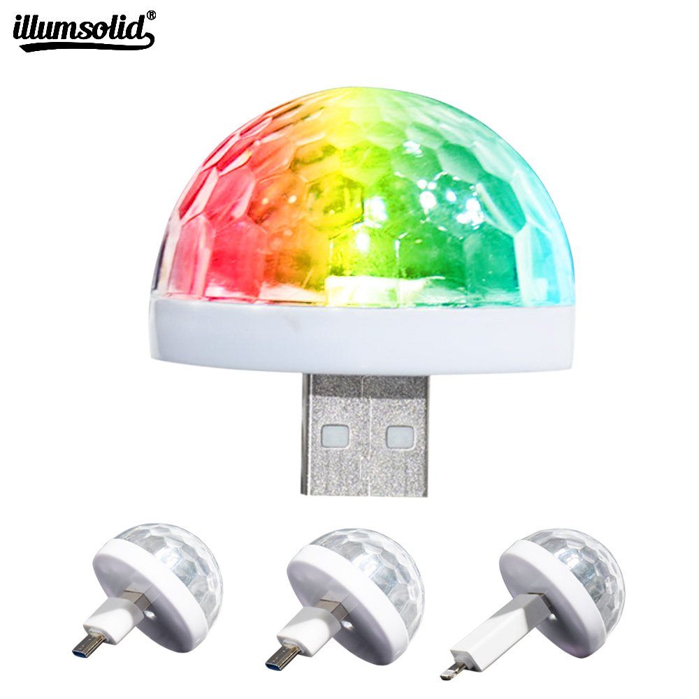 Music Sensor USB Mini Disco Stage Lighting Effect Light DJ Crystal Magic Ball Lamp Apply To Phone Micro Usb Llighting