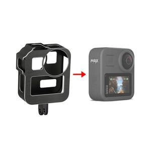 Image 1 - GoPro Max 360 액션 카메라 라이브 스트리밍 Vlog 부품 용 2 개의 콜드 슈 마운트가있는 알루미늄 합금 보호 케이지 표준 프레임