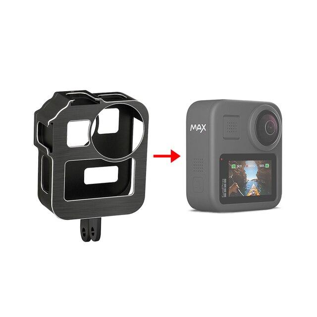 GoPro Max 360 액션 카메라 라이브 스트리밍 Vlog 부품 용 2 개의 콜드 슈 마운트가있는 알루미늄 합금 보호 케이지 표준 프레임