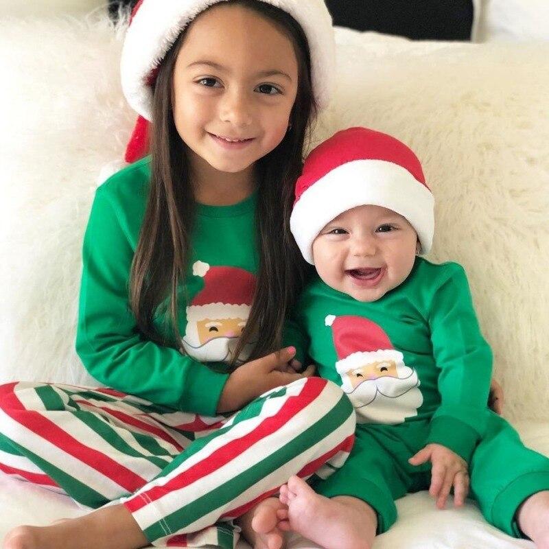 2019 automne nouveau-né barboteuses joyeux noël vêtements ensemble famille correspondant tenues pyjamas coton Costume vêtements de maison