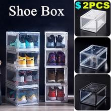 2PCS Magnetic transparent shoe box Acrylic storage dustproof high-top basketball shoe display shoe cabinet flip shoe box