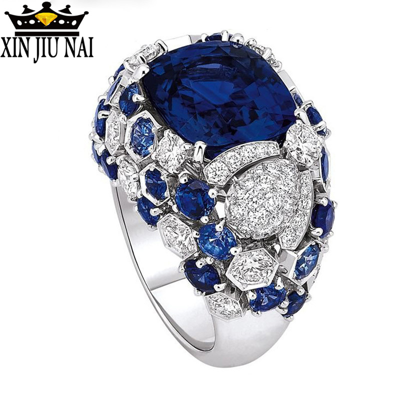 Luxury Retro Royal Party Rings Sapphire Inlays,Rhinestone Crystals,Dark Blue Gem Female/male Engagement Rings Birthday/gift 6-10