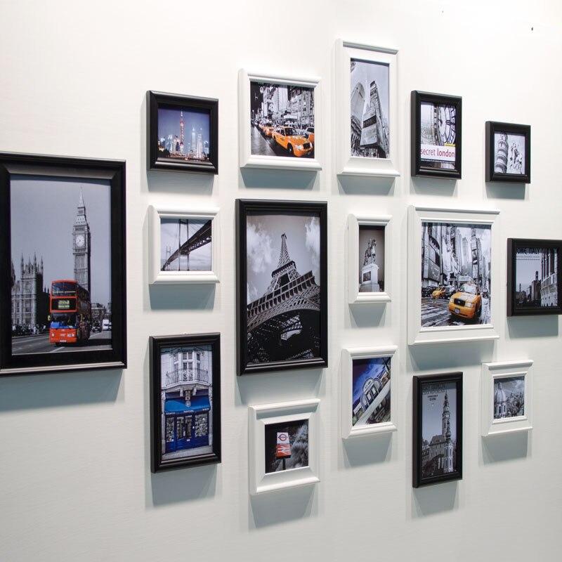 16 unids/set marco de foto para pared blanco, decoración del hogar de boda, nuevo marco negro, marcos para cuadros, cuadros fotográficos para pared modernos