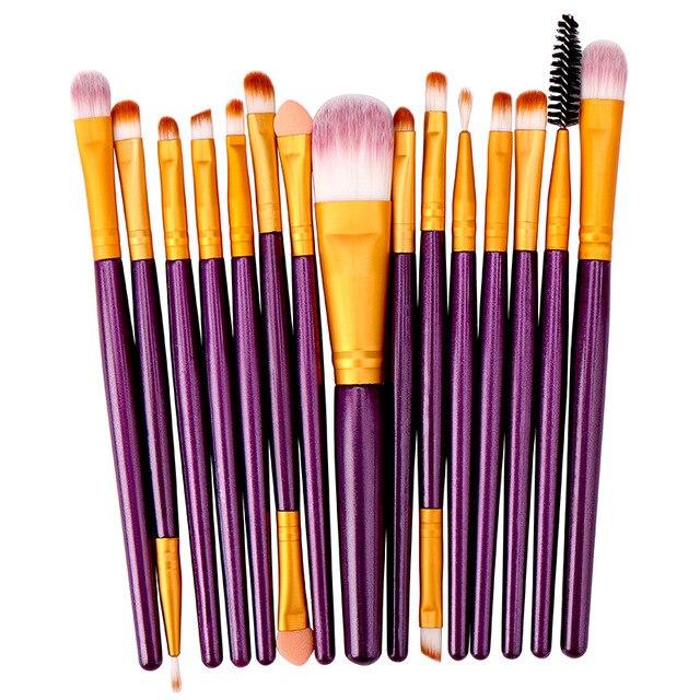 15 pçs conjunto de escova de maquiagem cosmetict maquiagem para rosto compõem ferramentas mulheres beleza profissional fundação blush eyeshadow consealer 2