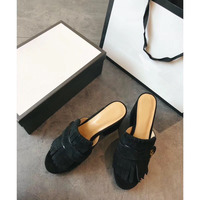 Famous brand luxury high quality Fashionable Women sandals Lady fringe slides casual slippers summer Women high heel Slipper