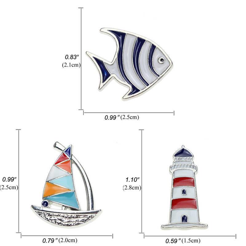 Moda yelkenli deniz feneri balık broş erkek kadın mavi kırmızı yelkenli dümen emaye yaka iğnesi ve broş mücevher Bijuteria