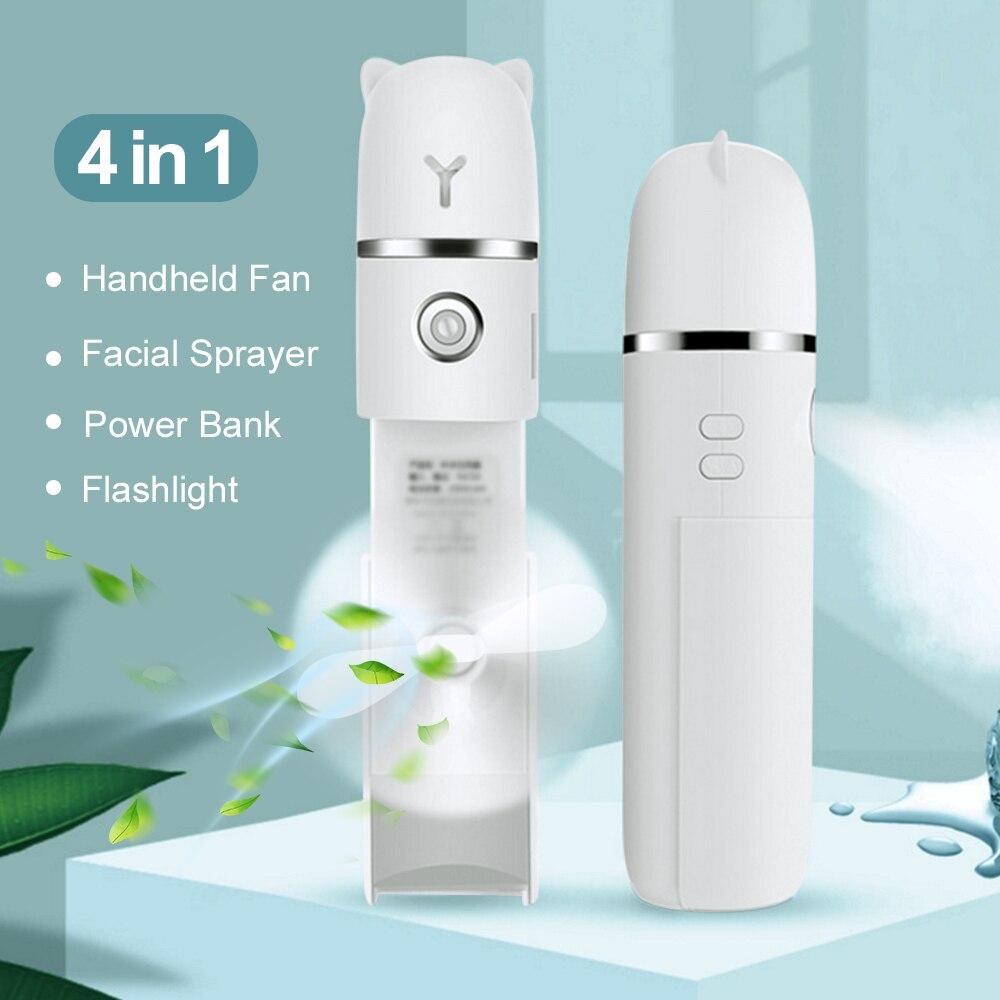 4 In 1 Facial Steamer Sprayer Fan, Nano Humidifier Handheld Cooling Portable Fan Desktop Mist Moisturizing Handfan For Travel