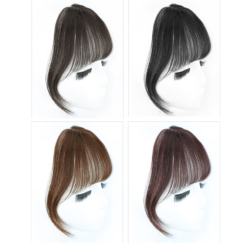 Salonchat Non-remy Hai 100% Human Hair Black/Light Brown Clip On Bangs Hairpieces For Women Bangs Clip In Hair Extensions  High