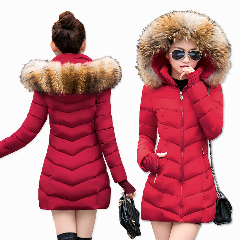 Jacket Coat Winter-Collection Parkas Fluffy-Fur-Collar Long New Warm Slim
