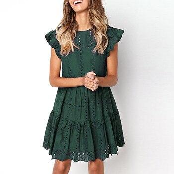 ZOGAA, открытое мини-платье трапециевидной формы с рюшами, женское пляжное платье с оборками и рукавами, женские Базовые платья с круглым вырезом, летние sukienka vestidos