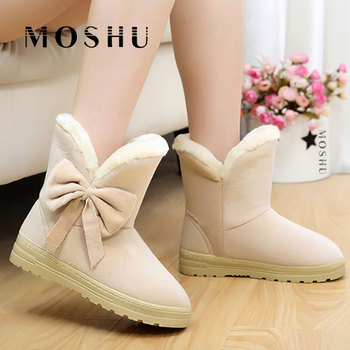 Winter Snow Boots Women Warm Sneakers Fur Black Mid-Calf Butterfly Boots Plush Shoes For Women Lace Up Botas Mujer Invierno 2019