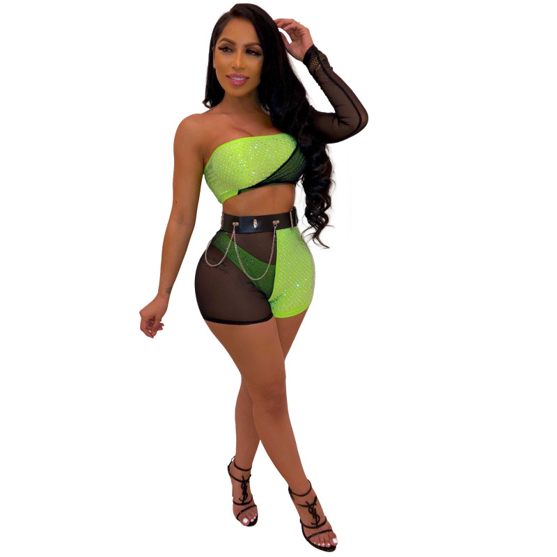 Two Pieces Sexy Mesh Hot Drill Unilateral Sleeve Wrap Shorts And Top Set Clothes Ladies Tracksuit Biker Shorts Set 2019 Women