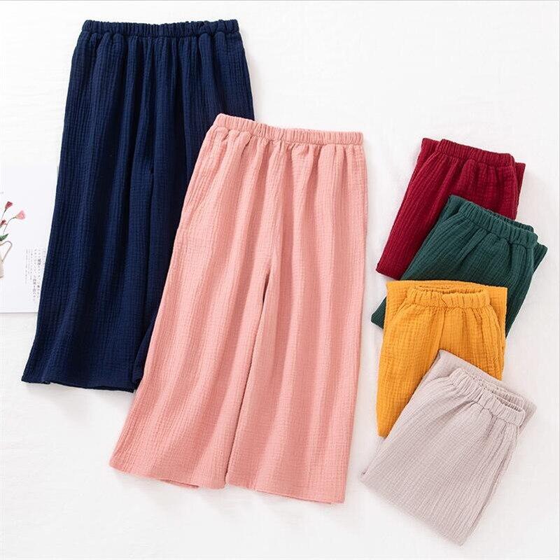 Large Size Women Cotton   Pants   5XL 6XL 7XL Summer Autumn Solid Calf-Length Straight   Pants   High Waist Solid   Wide     Leg     Pants