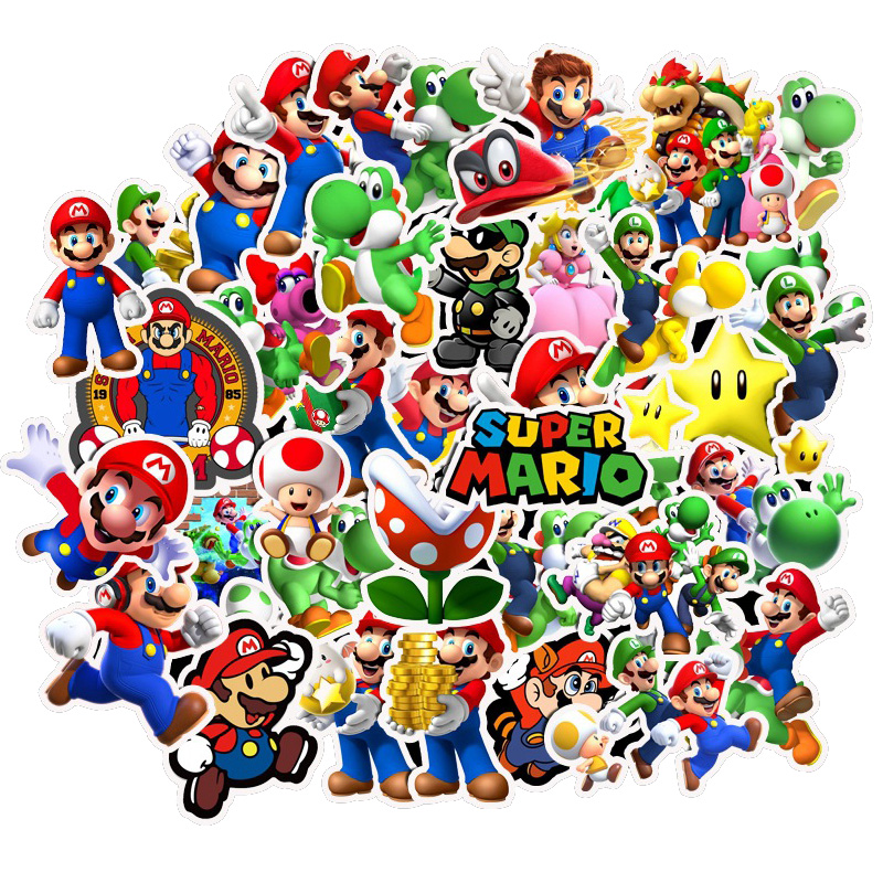 Paquete de 50 Uds. De Pegatinas de Super Mario, Pegatinas de Graffiti de dibujos animados para motocicleta, Notebook, portátil, equipaje, bicicleta, monopatín, pegatina infantil