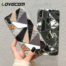 LOVECOM láser geométrico colorido mármol teléfono caso para iPhone XR XS Max 6 6S 7 8 Plus X suave TPU Vintage mármol contraportada Coque
