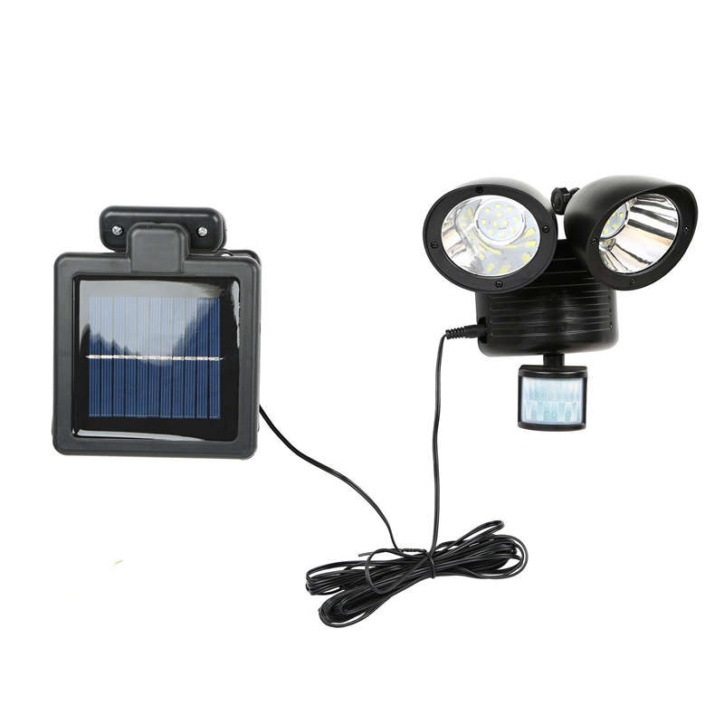 22 Led Dual Security Detector Solar Spot Light Motion Sensor Outdoor Floodlight Black