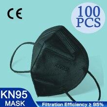 Alta qualidade 5 camadas ffp2 preto máscara de poeira respirador segurança máscara protetora kn95 rosto kn95masks filtro dustproof reutilizável fpp2