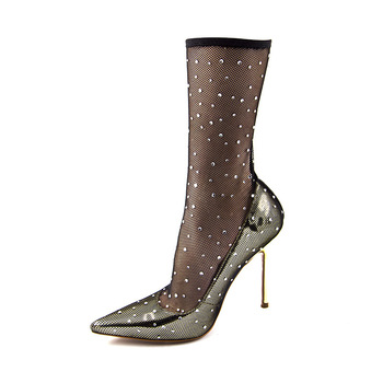 New Fashion high heels women pumps fishnets hollow out pointed-toe thin heel sexy festival wedding single shoes female Big 34-43