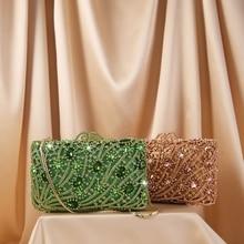 Party Purse Bags Designer Clutches-Bags Handbag Women Rhinestone Ladies Luxury Green/rosegold-Color