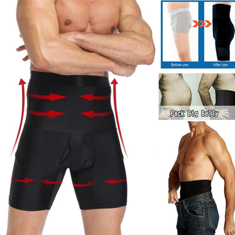 Men Tummy Control Shorts High Waist Slimming Underwear Body Shaper Seamless Belly Girdle Boxer Briefs Men Shapewear