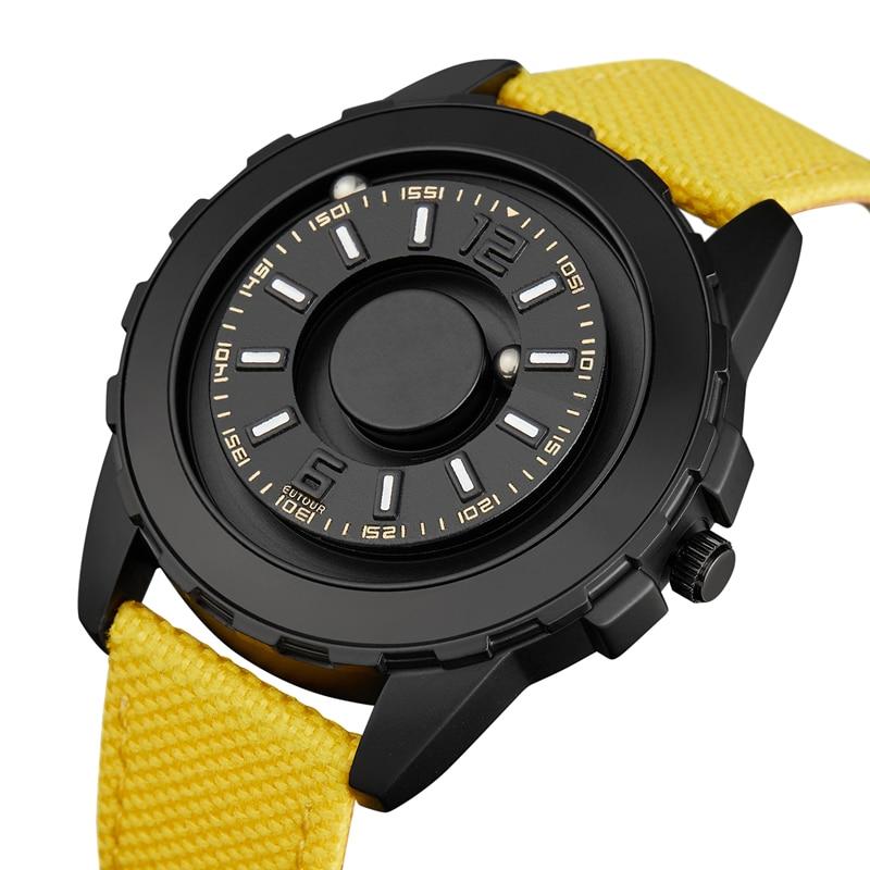 Mans Watch Hot Sale EUTOUR Magnetic Ball Pointer Quartz Watch Black Fashion Steel NylonnStrap Minimalist Watch Blind Men Watches