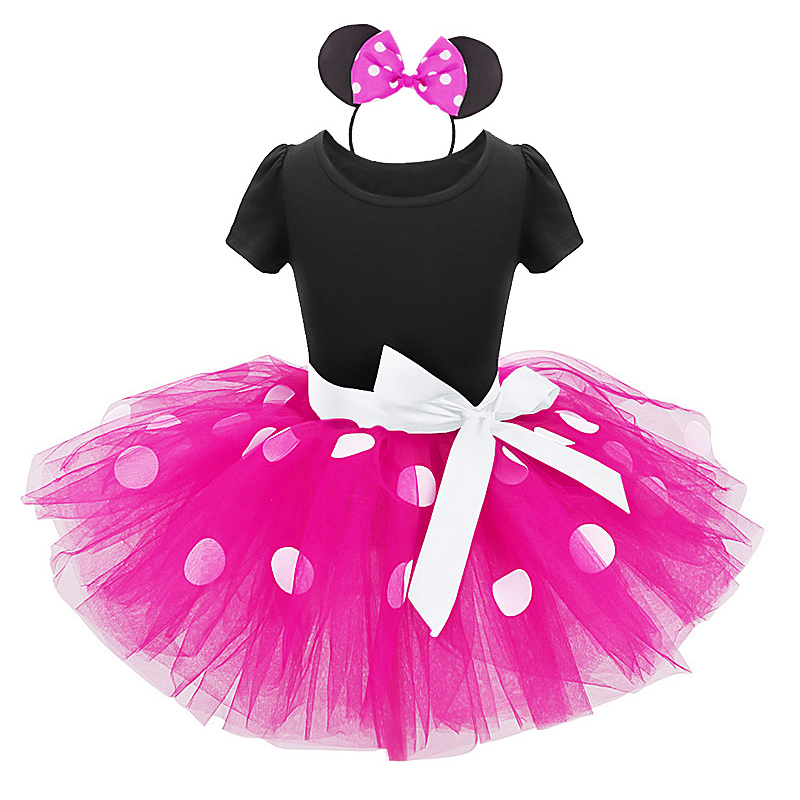 Minnie Mouse Costume for girls Halloween cosplay party Tutu Tulle Dress with Headband Baby Kid Girl birthday outfit photography