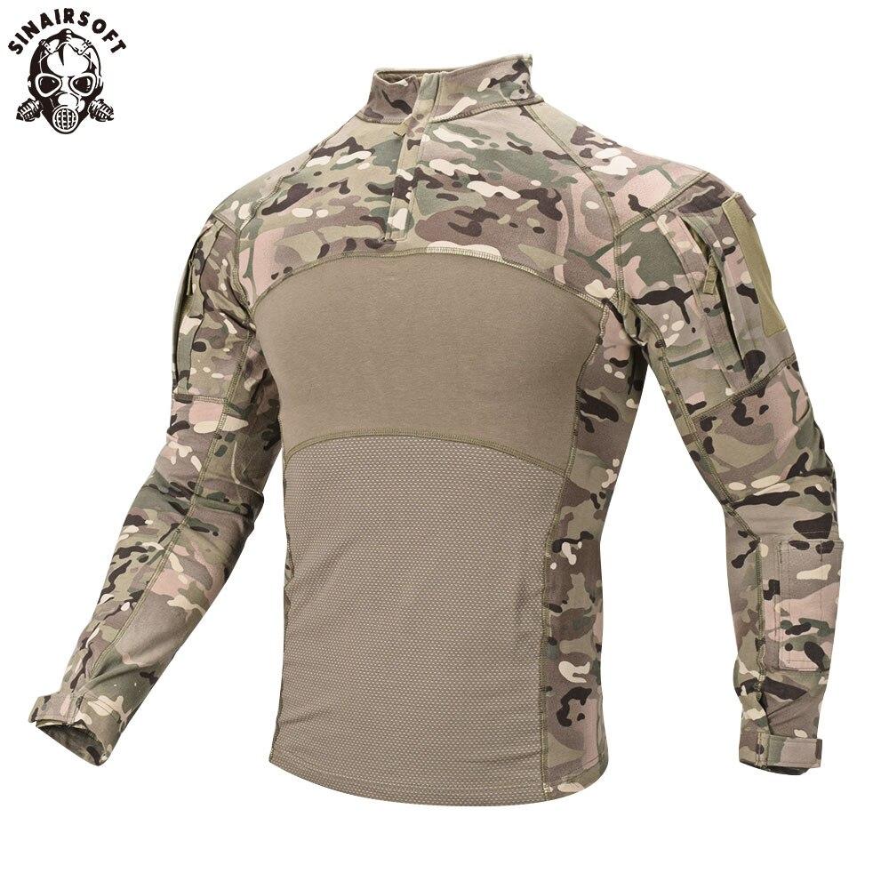SINAIRSOFT männer Taktische Militärische Combat Shirt Atmungsaktive Baumwolle Armee Assault Camo Langarm T-Shirt Im Freien Sport Airsoft