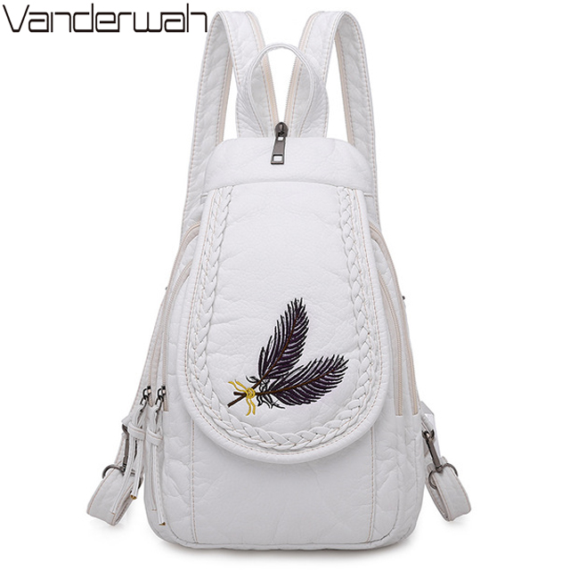 New Embroidery Women Chest Bag 3-in-1 Feathers Backpack Soft Washed Pu Leather Backpack Casual Ladies Shoulder Bag Sac A Dos