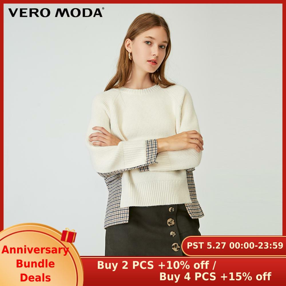 Vero Moda Women's Asymmetrical Houndstooth Spliced Round Neckline Knit | 320113521