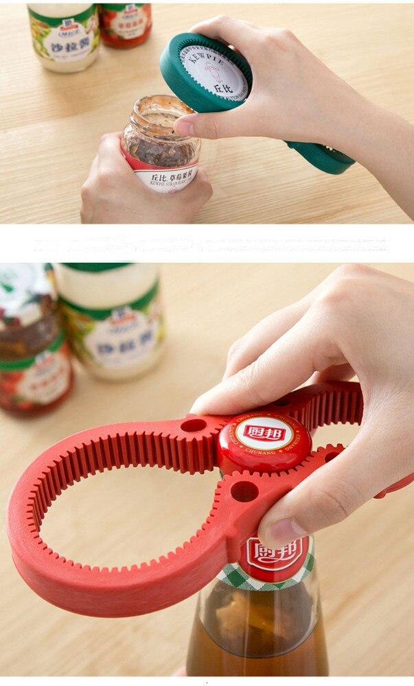 1Pcs 4in1 Can Opener Manual Rubber Non-slip Twist Cap Bottle Launcher Beer Opener Lid Screw Jam Bottle Opener Kitchen Gadget 6