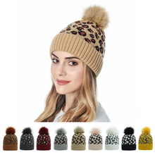 Winter Hat Bonnet Pompom Knitted Cap Beanies Women Warm Casual with for Faux-Fur Leopard