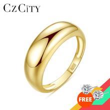 CZCITY anelli di fidanzamento in oro 14K reale classico semplice per le donne da sposa in oro giallo Au585 Kolye regali di gioielleria raffinata R14158