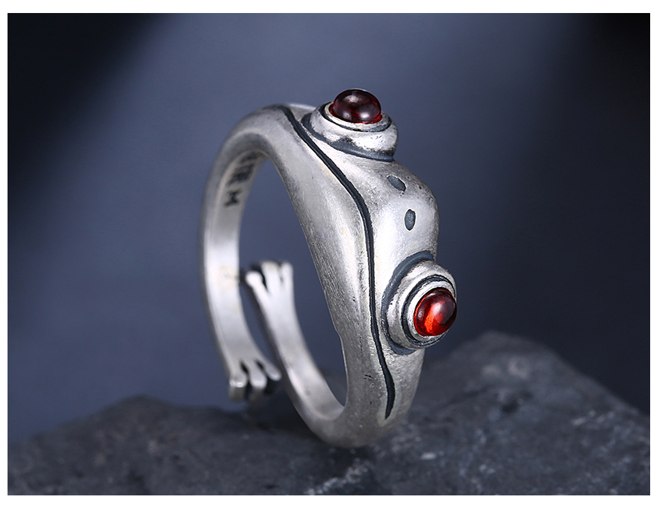Hfbdafaa869cf4fd58d4e439f45c312f4z Frog Ring Cute Retro Personality Creative Animal Unisex Red Garnet Stone Adjustable