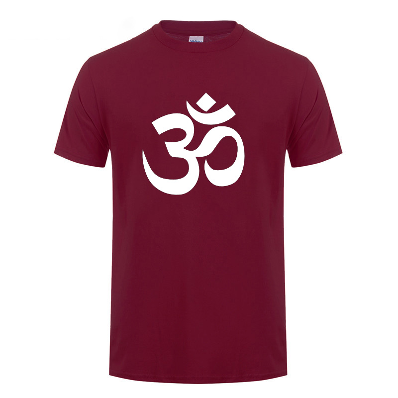 OM AUM SYMBOL  Relaxation T-Shirt For Male Men Funny Cotton Short Sleeve Streetwear JN BUDDHISM OM MANI PADME HUM T Shirt