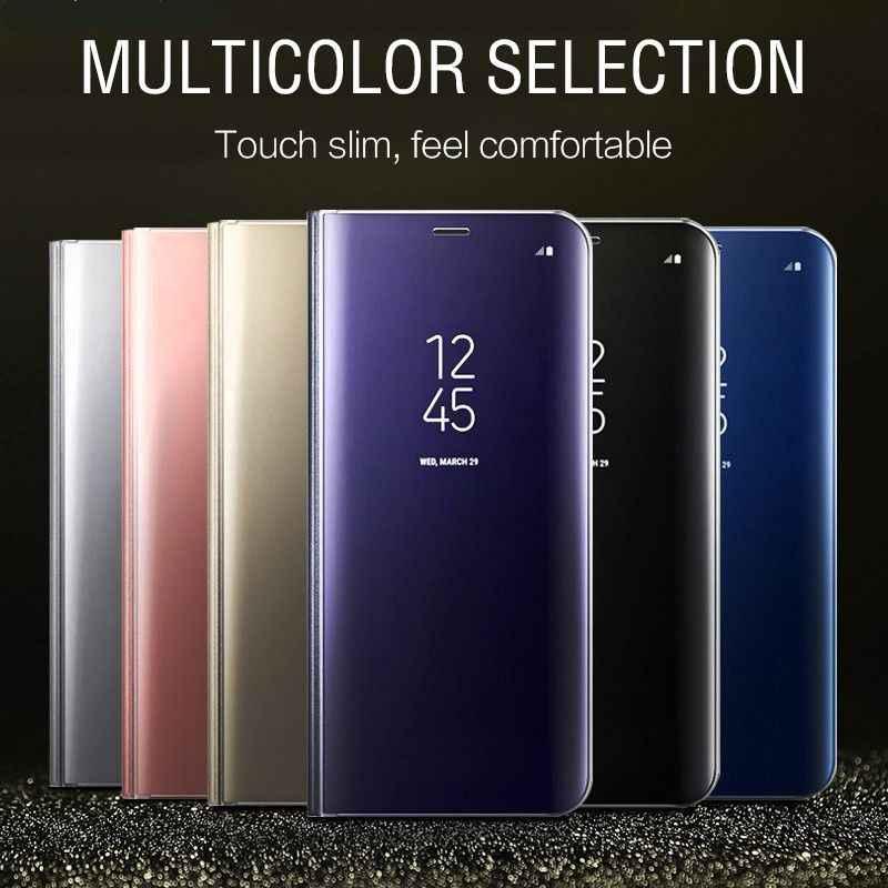 Flip Portemonnee Clear Telefoon Case Voor iPhone 11 Pro X 8 Plus Smart Spiegel View PU Leather Standhouder Cover voor iPhone XS Max XR