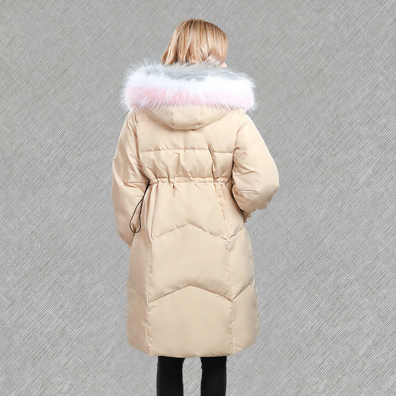 Down Jacket Woman Hooded Racoon Fur Collar Jackets For Women Winter 2020 Long Coat Overcoat Chamarras De Mujer KJ760