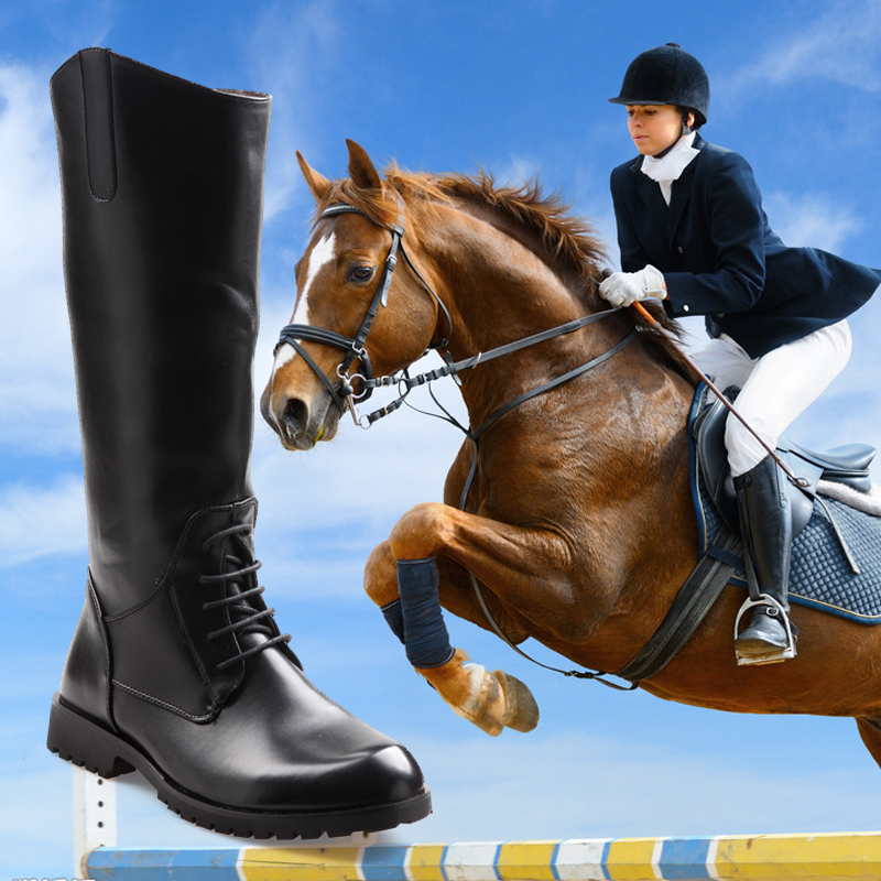 Horse Riding Boots For Women Men Waterproof Leather Long Boots Black Brown Knee High Boots Vintage Horseback Rider Boots Shoes
