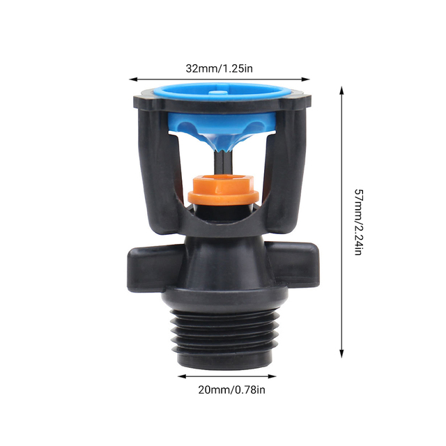 5PCS 1//2Inch 360 Degree Irrigation Automatic Rotary Garden Nozzle Sprinkler