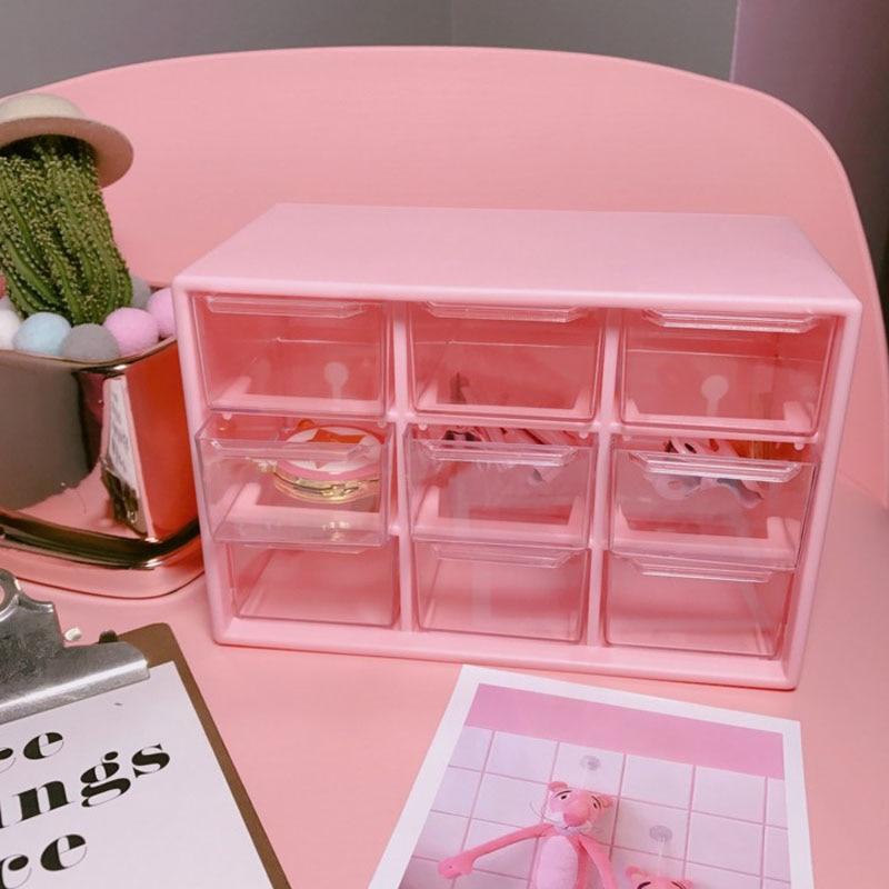 1 Pcs Pink 9 Grids Storage Case Box Holder Container 3 Layer Strationery Holder Bill Organizer Holder Student Office Supplies