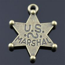 6pcs Charm Star Vintage Star Charms Pendant For Jewelry Making Antique Bronze Color Us Marshal Star Charms 28x28mm(China)