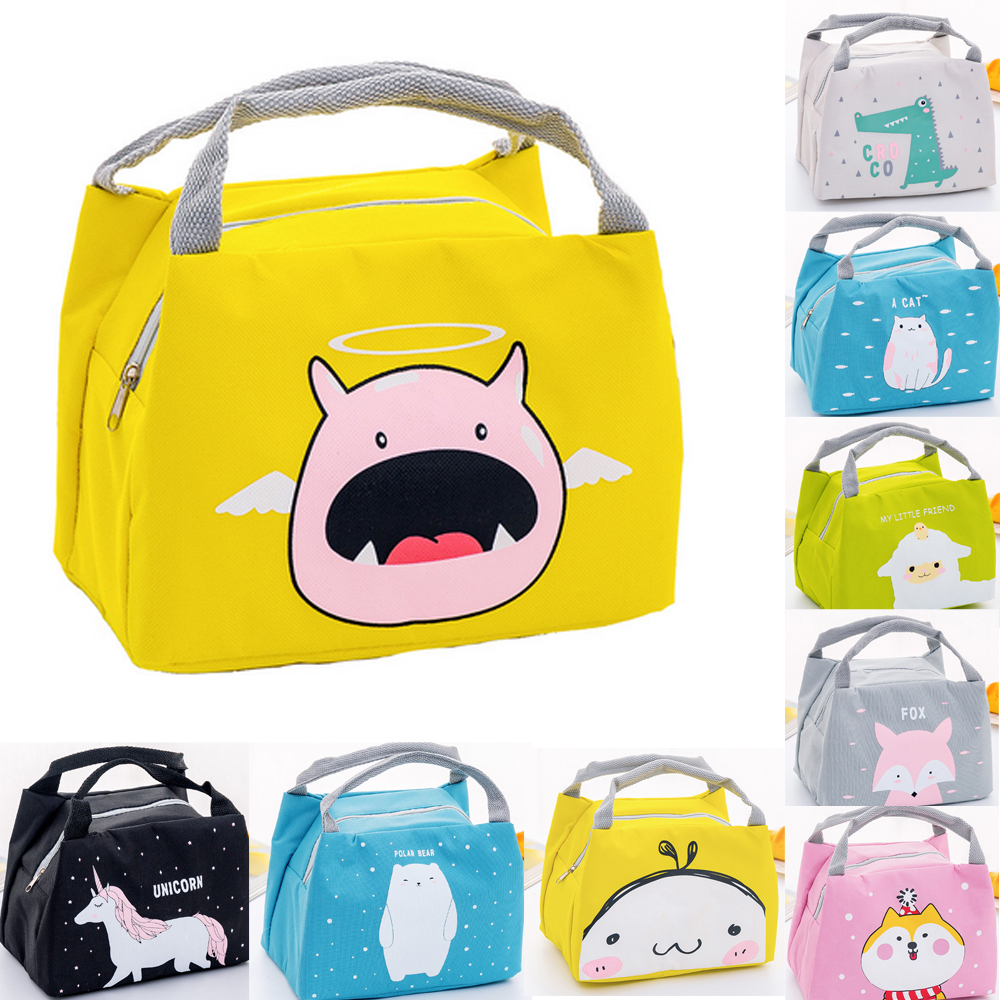 17 X 21x 15cm 1pc Baby Portable Insulated Lunch Bag Box Picnic Tote Cartoon Oxford Cloth Bags