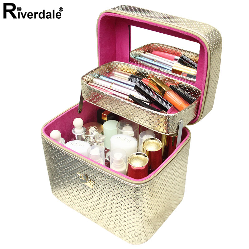 Brand Crown Makeup Case Large Capacity Professional Makeup Organizer Cosmetic Bag Portable Beauty Brush Storage Case Bolso Mujer