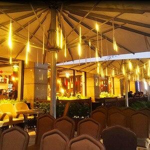 Lampa słoneczna ogród 144 led Outdoor Meteor Rain 8 sztuk rury łańcuchy świetlne wodoodporne na boże narodzenie ślub oświetlenie dekoracyjne na imprezy